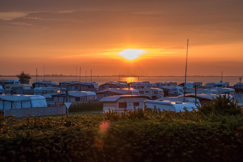 Caravan site in the sunset